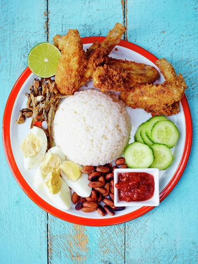 Nasi Lemak with  fried chicken wings