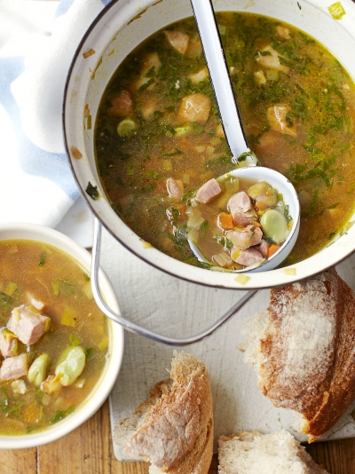 Broad bean, ham & mint soup