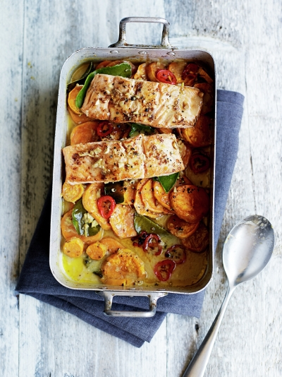 Asian salmon & sweet potato traybake
