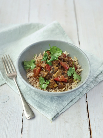 Mega mushroom & lentil curry with tomato, coriander & lemony rice