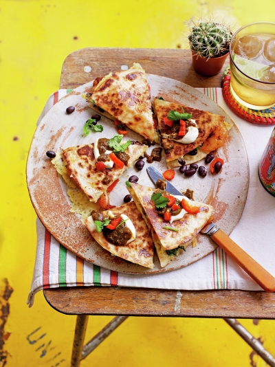Shrimp & black bean quesadillas
