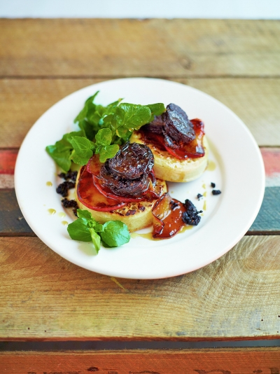 Black pudding crumpets