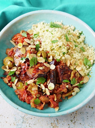 Incredible Sicilian aubergine stew with couscous