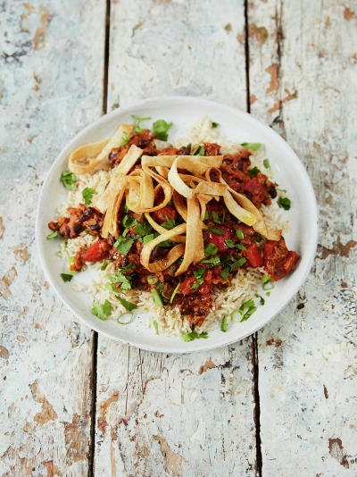 Smoky sweet potato chilli with crispy tortilla