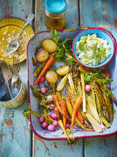 Roasted spring veg with watercress dip