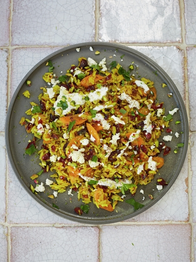 Veggie pilaf with toasted nuts & feta