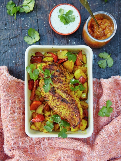 Roasted chicken with lemony Bombay potatoes